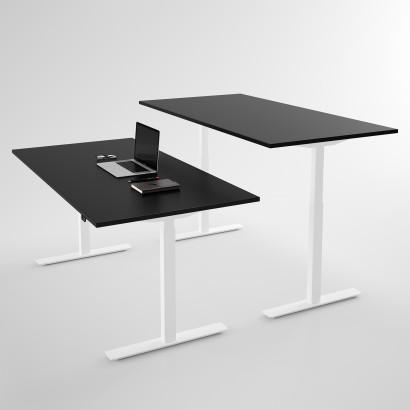 Höj och sänkbart skrivbord, vitt stativ och svart skiva - Standard