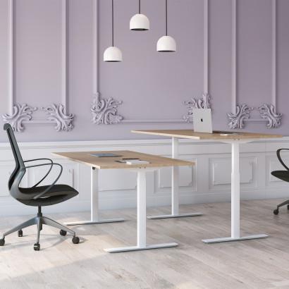Höj och sänkbart skrivbord, vitt stativ och ek skiva - Standard