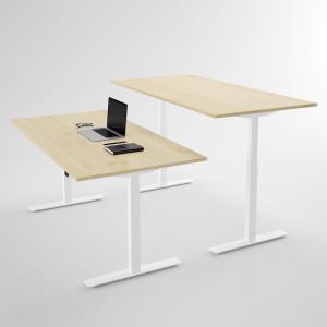 Höj och sänkbart skrivbord, vitt stativ och björkskiva - Standard