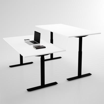 Höj och sänkbart skrivbord, svart stativ och vit skiva - Standard