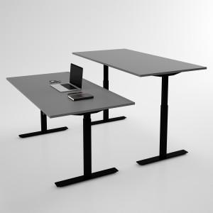 Höj och sänkbart skrivbord, svart stativ och mörkgrå skiva - Standard