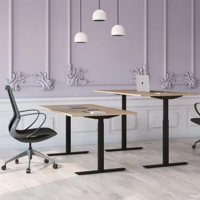 Höj och sänkbart skrivbord, svart stativ och ek skiva - Standard