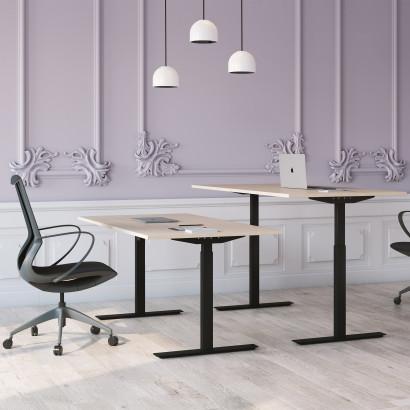 Höj och sänkbart skrivbord, svart stativ och björk skiva - Standard