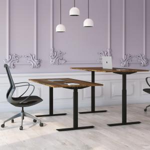 Höj och sänkbart skrivbord, svart stativ och valnöt skiva - Standard