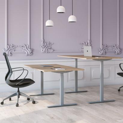 Höj och sänkbart skrivbord, silver stativ och ek skiva - Standard