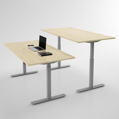 Höj och sänkbart skrivbord, silver stativ och björk skiva - Standard