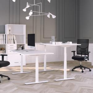 Höj och sänkbart skrivbord, vitt stativ och vit skiva - Premium