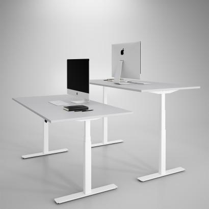 Höj och sänkbart skrivbord, vitt stativ och ljusgrå skiva - Premium
