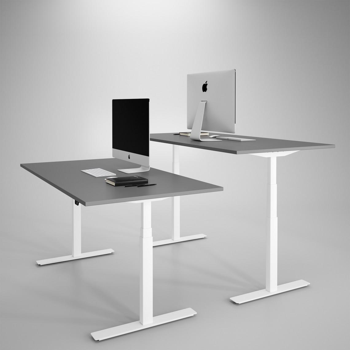 Höj och sänkbart skrivbord, vitt stativ och mörkgrå skiva - Premium