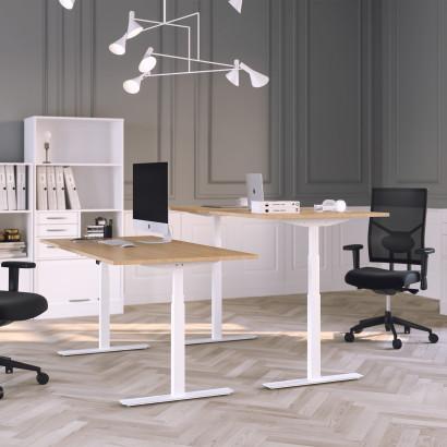 Höj och sänkbart skrivbord, vitt stativ och ek skiva - Premium