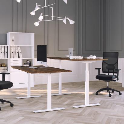 Höj och sänkbart skrivbord, vitt stativ och valnöt skiva - Premium