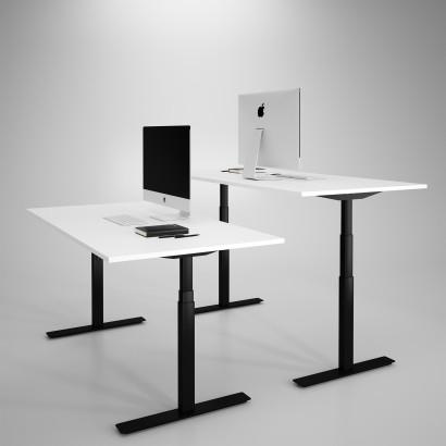 Höj och sänkbart skrivbord, svart stativ och vit skiva - Premium