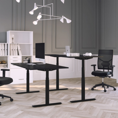Höj och sänkbart skrivbord, svart stativ och svart skiva - Premium