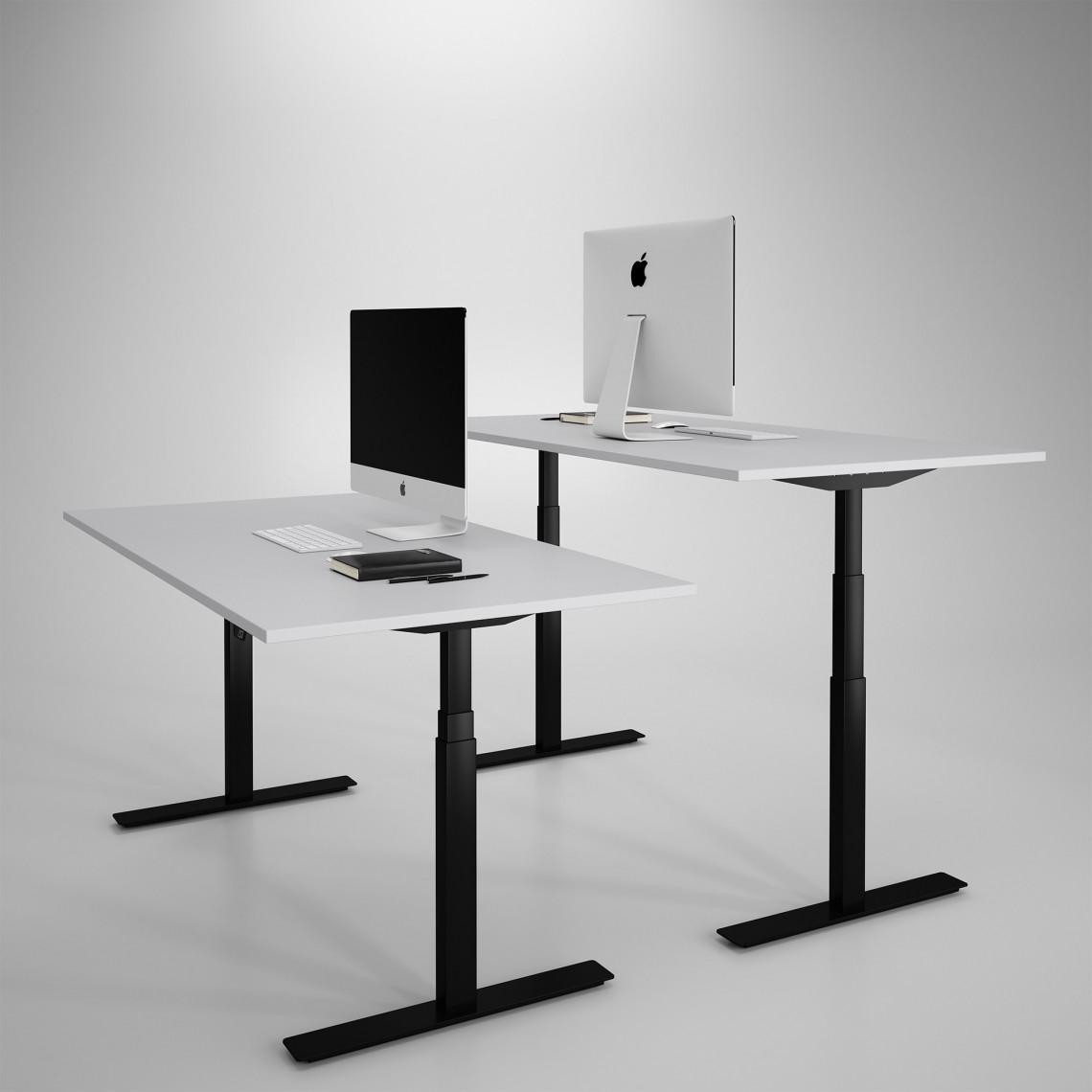 Höj och sänkbart skrivbord, svart stativ och ljusgrå skiva - Premium