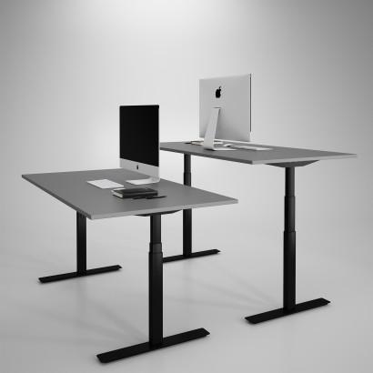 Höj och sänkbart skrivbord, svart stativ och mörkgrå skiva - Premium