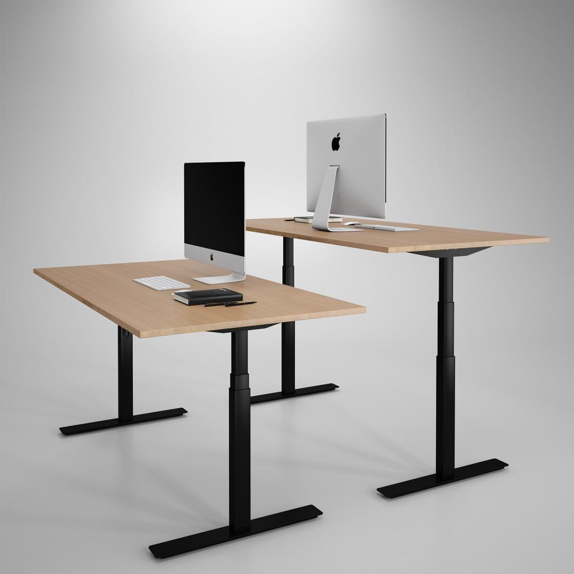 Höj och sänkbart skrivbord, svart stativ och ek skiva - Premium