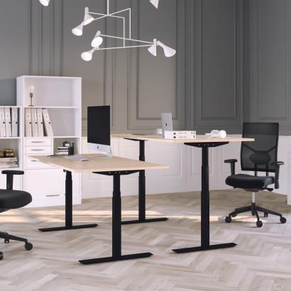 Höj och sänkbart skrivbord, svart stativ och björk skiva - Premium