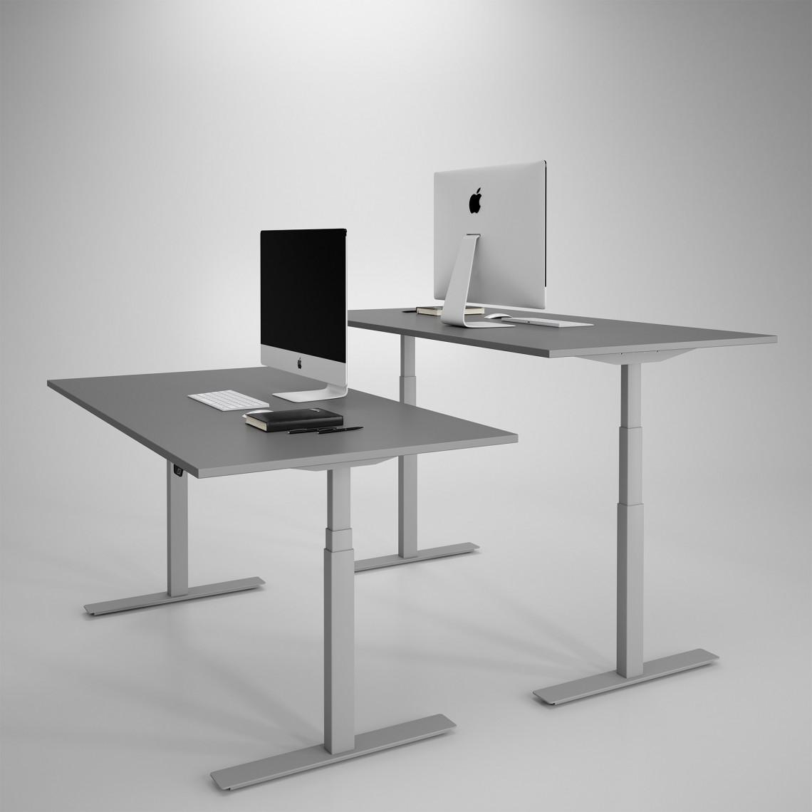 Höj och sänkbart skrivbord, silver stativ och mörkgrå skiva - Premium