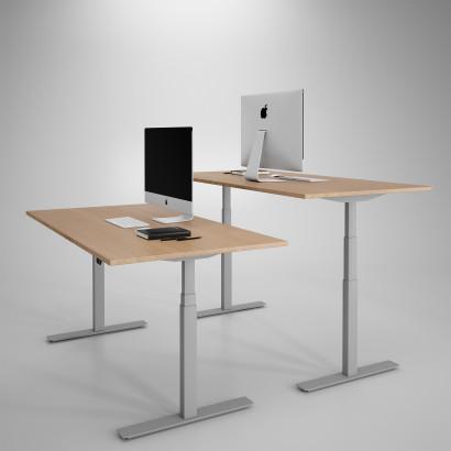 Höj och sänkbart skrivbord, silver stativ och ek skiva - Premium