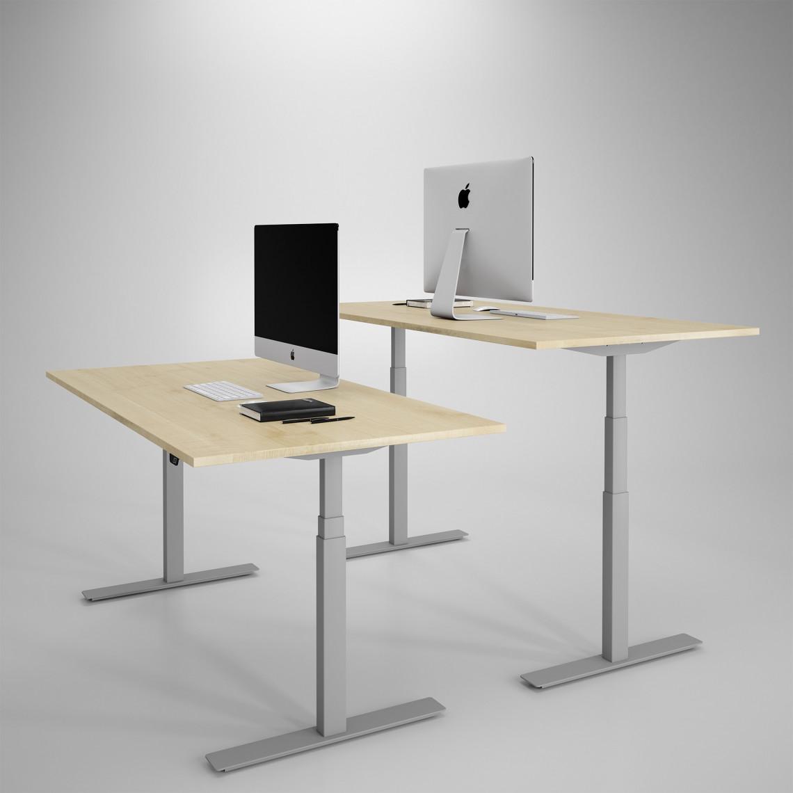 Höj och sänkbart skrivbord, silver stativ och björk skiva - Premium
