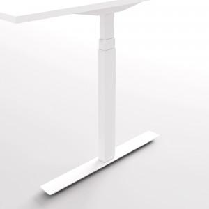 Höj och sänkbart svängt skrivbord, (snö), vitt stativ och vit skiva - Premium