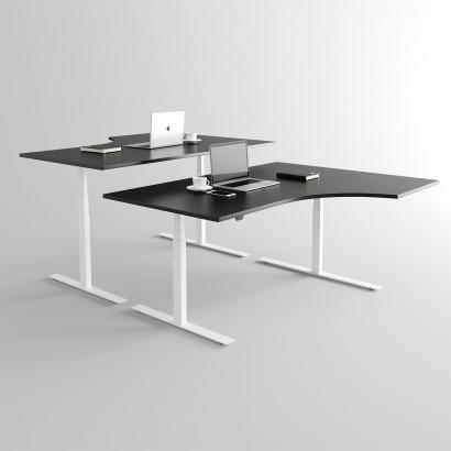 Höj och sänkbart svängt skrivbord, vitt stativ och svart skiva - Premium