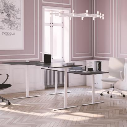 Svängt höj- och sänkbart skrivbord, vitt stativ och mörkgrå skiva - Premium