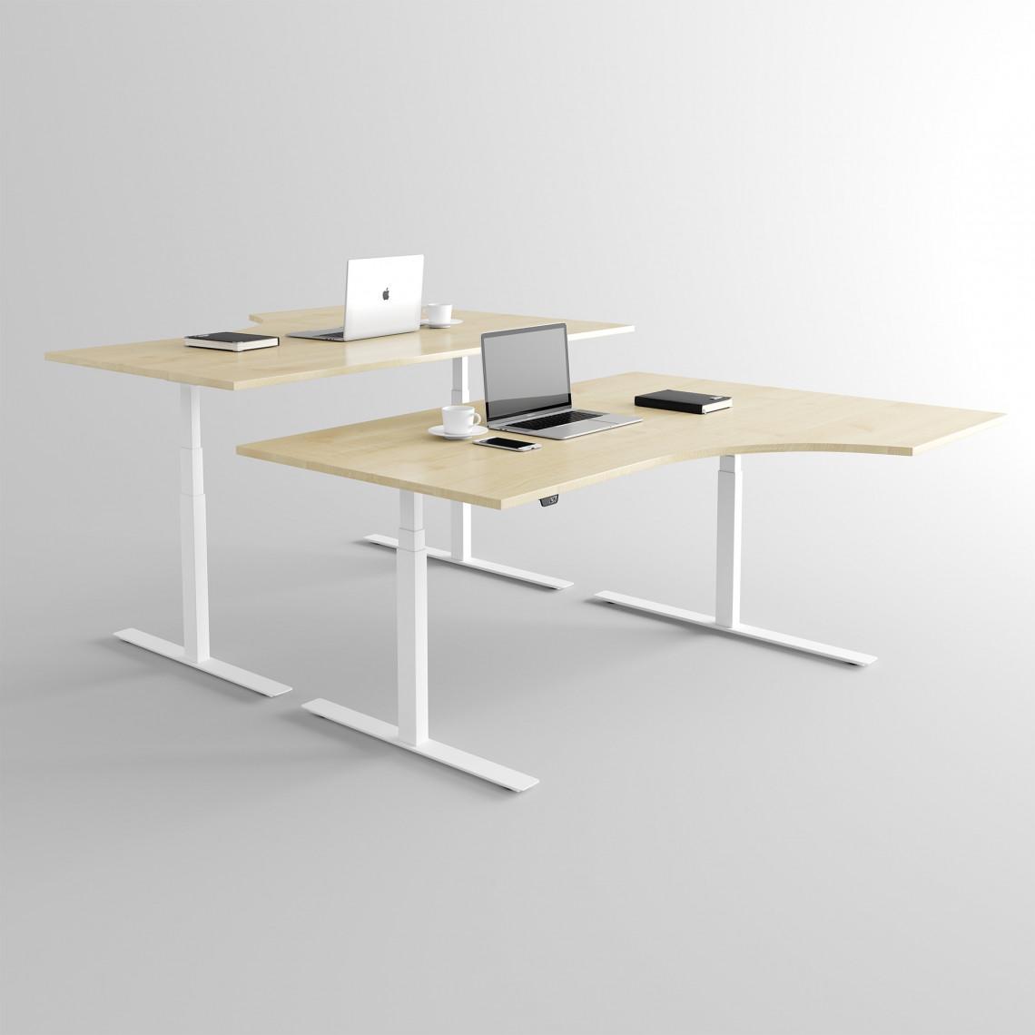 Höj och sänkbart svängt skrivbord, vitt stativ och björk skiva - Premium