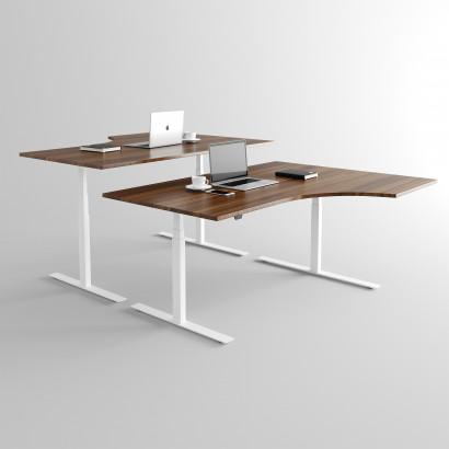 Höj och sänkbart svängt skrivbord, vitt stativ och valnöt skiva - Premium