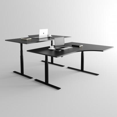 Svängt höj- och sänkbart skrivbord, Svart stativ och svart skiva - Premium