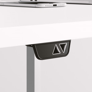 Höj och sänkbart svängt skrivbord, svart stativ och mörkgrå skiva - Premium