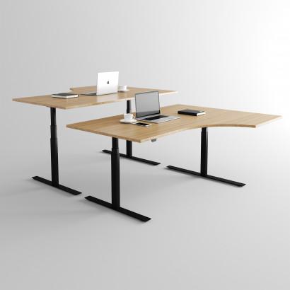 Svängt höj- och sänkbart skrivbord, Svart stativ och ekskiva - Premium