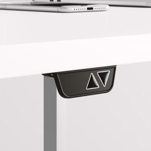 Höj och sänkbart svängt skrivbord, svart stativ och björk skiva - Premium