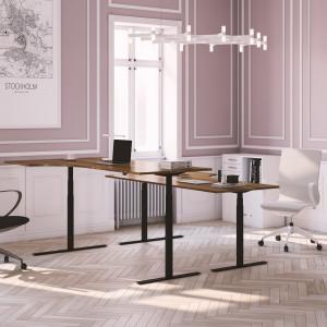 Höj och sänkbart svängt skrivbord, svart stativ och valnöt skiva - Premium