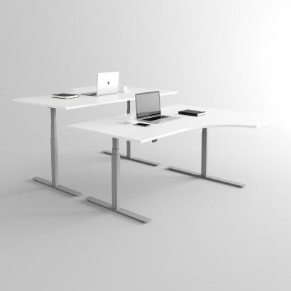 Höj och sänkbart svängt skrivbord, silver stativ och vit skiva - Premium