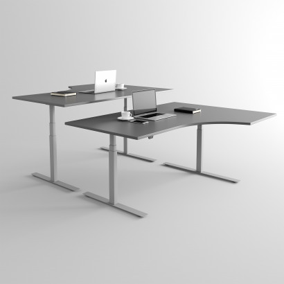 Höj och sänkbart svängt skrivbord, silver stativ och mörkgrå skiva - Premium