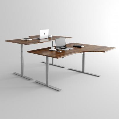 Svängt höj- och sänkbart skrivbord, valnöt skiva och silver stativ - Premium