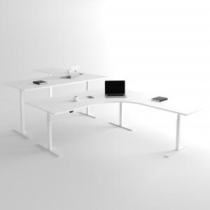 Höj och sänkbart hörnskrivbord, 3-ben, vitt stativ och vit skiva