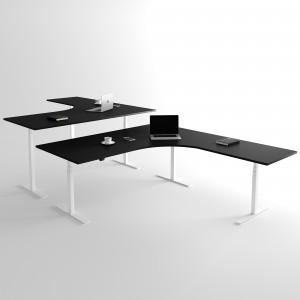 Höj och sänkbart hörnskrivbord, vitt stativ och svart skiva - Premium