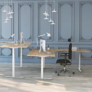 Höj och sänkbart hörnskrivbord, vitt stativ och ek skiva - Premium