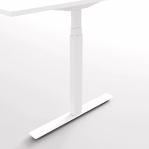 Höj och sänkbart hörnskrivbord, vitt stativ och björk skiva - Premium