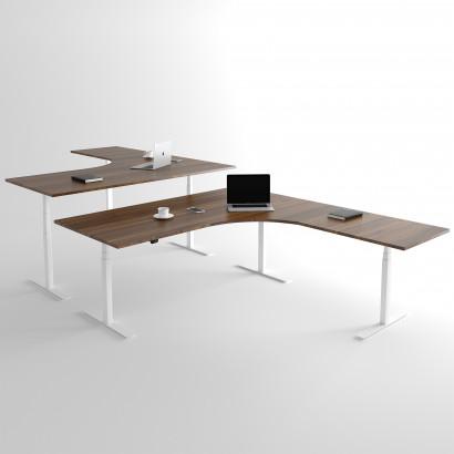Höj och sänkbart hörnskrivbord, vitt stativ och valnöt skiva - Premium