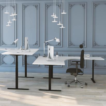 Höj- och sänkbart hörnskrivbord, 3-ben, vit skiva och svart stativ