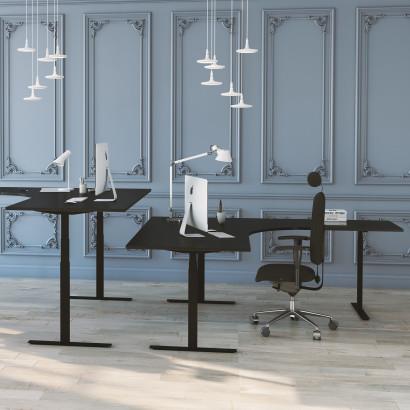 Höj- och sänkbart hörnskrivbord, svart stativ och svart skiva, 3-ben