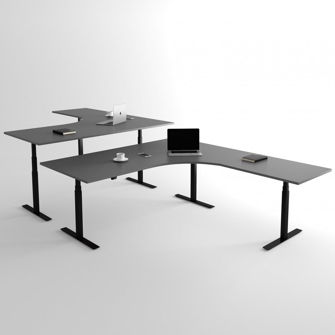 Höj och sänkbart hörnskrivbord, svart stativ och mörkgrå skiva - Premium