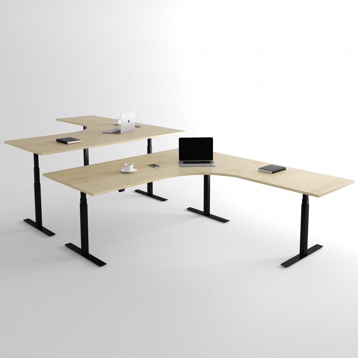 Höj och sänkbart hörnskrivbord, svart stativ och björk skiva - Premium