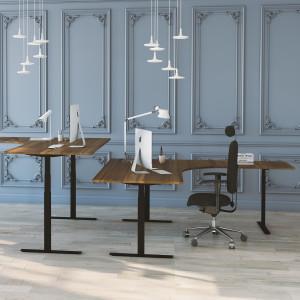 Höj- och sänkbart hörnskrivbord, svart stativ och valnöt skiva, 3-ben