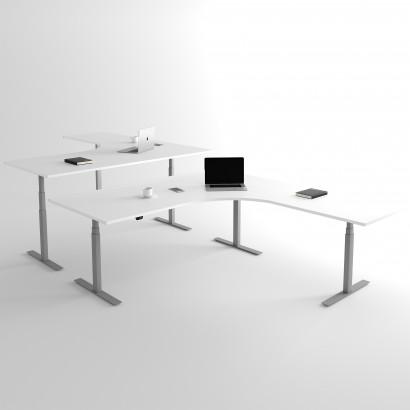 Höj och sänkbart hörnskrivbord, silver stativ och vit skiva - Premium