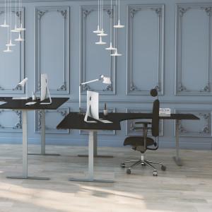 Höj och sänkbart hörnskrivbord, silver stativ och svart skiva - Premium