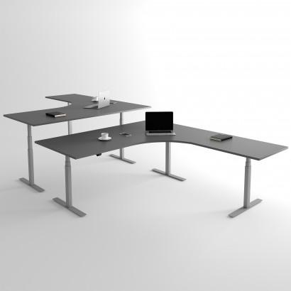 Höj och sänkbart hörnskrivbord, silver stativ och mörkgrå skiva - Premium